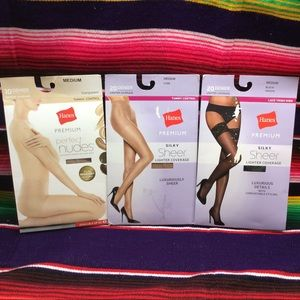 BUNDLE OF HANES WOMEN'S PANTYHOSE AND LACE THIGH